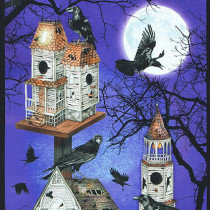 "Raven Moon Large 24"" Spooky Raven Birdhouse Panel Purple by Robert Kaufman Fabric"