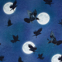 Raven Moon Flying Ravens Blue by Robert Kaufman Fabric