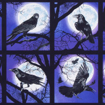 "Raven Moon 24"" Ravens Patch Panel Purple by Robert Kaufman Fabric"