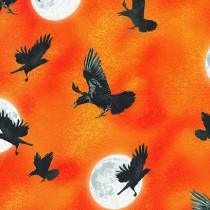 Raven Moon Flying Ravens Orange by Robert Kaufman Fabric