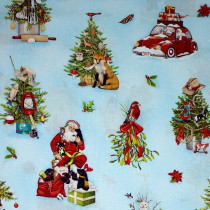 Holly Jolly Christmas 2019 Santa Blue by Robert Kaufman Fabric