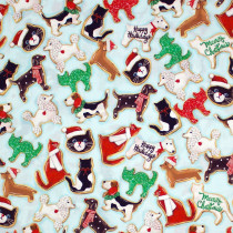 Holly Jolly Christmas 2019 Christmas Cookies Blue by Robert Kaufman Fabric