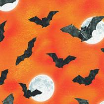 Raven Moon Moonlit Flying Bats Orange by Robert Kaufman Fabric