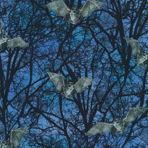 Raven Moon Spooky Trees and Bats Blue by Robert Kaufman Fabric
