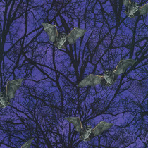 Raven Moon Spooky Trees and Bats Purple by Robert Kaufman Fabric