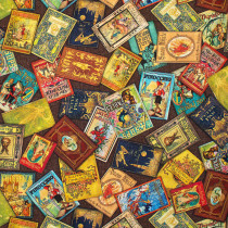 Library of Rarities Scattered Books Multi by Robert Kaufman Fabric
