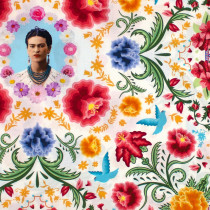 Frida Kahlo Floral Portraits White by Robert Kaufman Fabric
