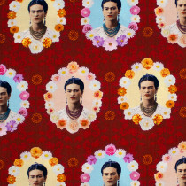 Frida Kahlo Portraits Red by Robert Kaufman Fabric