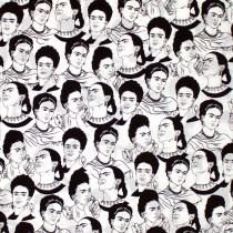 Frida Kahlo Face Studies White by Robert Kaufman Fabric