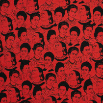 Frida Kahlo Face Studies Red by Robert Kaufman Fabric