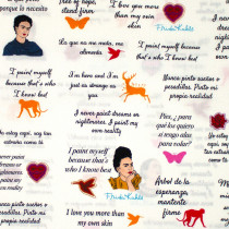 Frida Kahlo Quotes White by Robert Kaufman Fabric