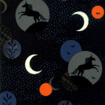 Ruby Star Society Crescent Horses Moon Black by Moda Fabrics