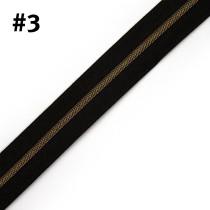 "Voodoo Bag Hardware (Size #3) Handbag Zipper Black Tape with Antique Brass Teeth 3m (157"") No Pulls"