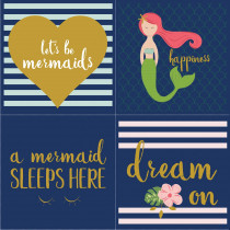 Riley Blake Designs Let's Be Mermaids 1yd Panel Sparkle Navy