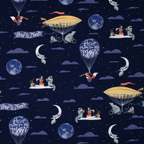 Love You To the Moon Navy by Dear Stella Fabric Design