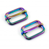 "Emmaline Bags Slide Adjusters 25mm (1"") Iridescent Rainbow - 2pk"