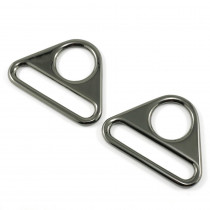 "Emmaline Bags Flat Triangular Ring 40mm (1-1/2"") Gunmetal - 2pk"