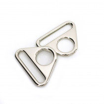 "Voodoo Bag Hardware Flat Triangular Ring 40mm (1-1/2"") Silver - 2pk"