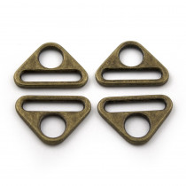 "Voodoo Bag Hardware Flat Triangular Ring 25mm (1"") Antique Brass - 4pk"
