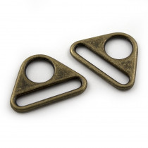 "Voodoo Bag Hardware Flat Triangular Ring 40mm (1-1/2"") Antique Brass - 2pk"