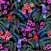 Tropical Garden Birds and Flowers Multi by P & B Textiles