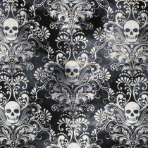 Skull Damask Charcoal by Timeless Treasures