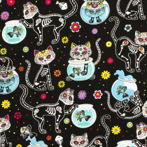 Day Of The Dead Kitties Black by Timeless Treasures