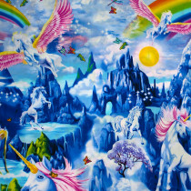 "Majestic Unicorn Bright Border Panel 61cm (24"") repeat by Timeless Treasures"