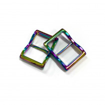 """Emmaline Bags Wide Mouth Strap Sliders (Extra Wide) For thicker straps 25mm (1"""") Iridescent Rainbow - 2pk"""