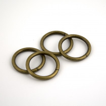 "Voodoo Bag Hardware Wire O-Ring 25mm (1"") Antique Brass - 4pk"