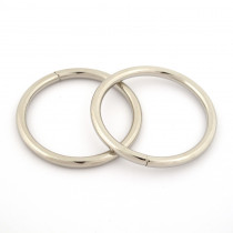 "Voodoo Bag Hardware Wire O-Ring 40mm (1-1/2"") Silver - 4pk"