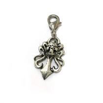 Voodoo Zipper Pull - Skull Damask Silver