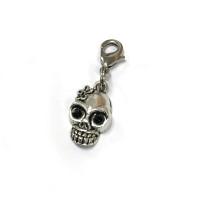 Voodoo Zipper Pull Skull Flower Silver