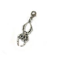 Voodoo Zipper Pull - Spider Skull Silver