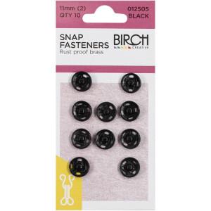 Birch Creative Press Studs - 11mm (2) - 10 sets Black