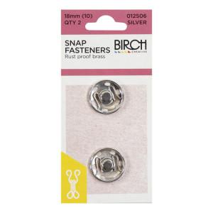 Birch Creative Press Studs - 18mm (size 10) - 2 sets Silver