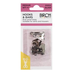 Birch Creative Hook and Bar Medium Silver 4pk