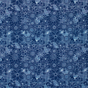 Floral Pets Sigrid Navy by Blend Fabric