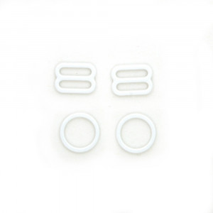 Bra Strap Adjustment Sliders and Rings 12mm (1/2inch) White