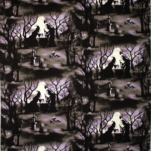 Hocus Pocus Halloween Witches with Cauldrons Scene Glow in the Dark by Blank Quilting