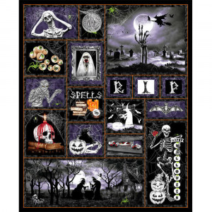 """Hocus Pocus Halloween 36"""" (91cm) Fabric Panel Glow in the Dark by Blank Quilting"""