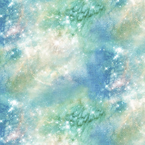 Magical Galaxy Airglow Sky Glitter Green by 3 Wishes Fabric