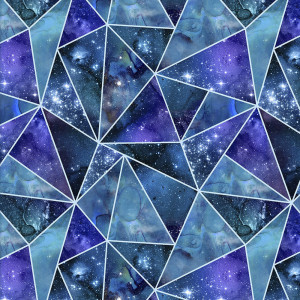 Magical Galaxy Fractured Twilight Glitter Multi by 3 Wishes Fabric