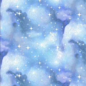 Magical Galaxy Civil Twilight Glitter Light Blue by 3 Wishes Fabric