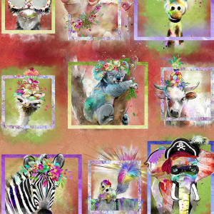 """Party Animals 36"""" (91cm) Panel by 3 Wishes Fabric"""