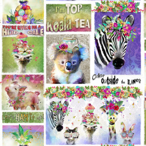 Party Animals Animal Phrases Multi by 3 Wishes Fabric