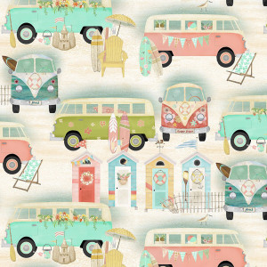 Beach Travel Vintage Bus Sand by 3 Wishes Fabric