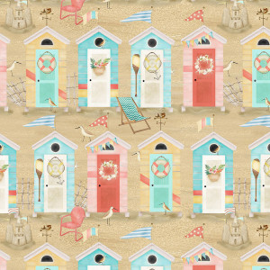 Beach Travel Beach Huts Sand by 3 Wishes Fabric