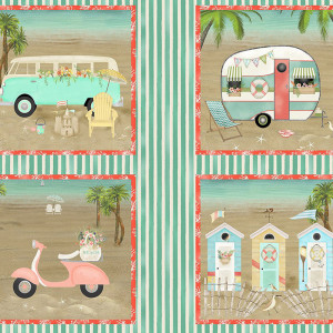 """Beach Travel 36.25"""" (92cm) Panel Multi by 3 Wishes Fabric"""