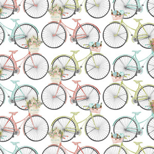 Beach Travel Bicycles White by 3 Wishes Fabric